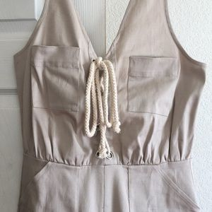 Khaki Utility Jumpsuit with Rope Detail